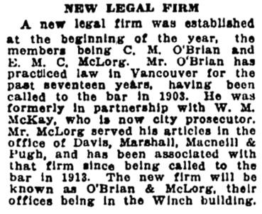 C M O'Brian and E M C McLorg - law partnership - Vancouver Sun - January 8 1920 - page 7 - column 5