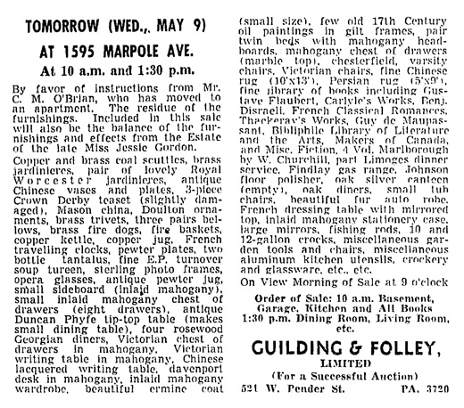 C M O'Brian - auction at 1595 Marpole Avenue - Vancouver Sun - May 8 1951 - page 33 - column 3
