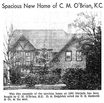 C M O'Brian - new home at 1595 Marpole Avenue - Vancouver Sun - December 4 1937 - page 22 - columns 4-5