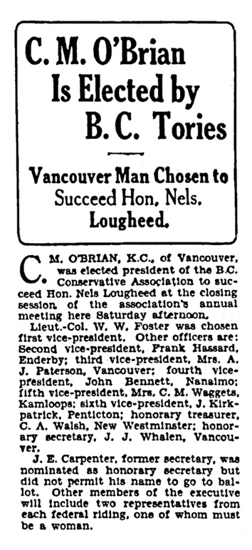 C M O'Brian - president of BC Conservative Association - Vancouver Province - November 18 1928 - page 1 - column 2