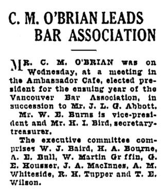 C M O'Brian - president of Vancouver Bar Association - Vancouver Province - November 12 1925 - page 18 - column 3