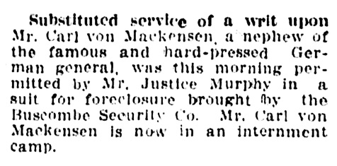 Carl von Mackensen - Buscombe Security Company - foreclosure action - Vancouver Province - September 29 1915 - page 11 - column 3