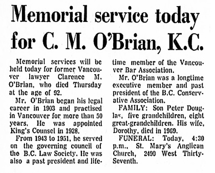 Clarence M O'Brian - obituary - Vancouver Province - April 3 1971 - page 12 - columns 1-2