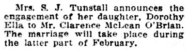 Clarence McLean O'Brian and Dorothy Ella Tunstall - engagement - Vancouver Province - December 28 1912 - page 8 - column 3