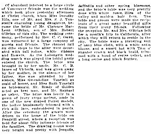 Clarence McLean O'Brian and Dorothy Ella Tunstall - wedding - Vancouver Daily World - March 5 1913 - page 5 - columns 4-5