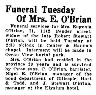 Eugenia O'Brian - obituary - Vancouver Sun - September 6 1927 - page 16 - column 5