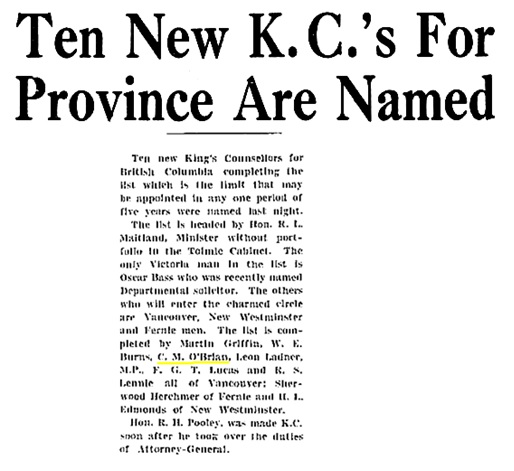 King's Counsel - British Columbiaq - 1928 - Victoria Daily Times - September 12 1928 - page 1 - columns 2-3