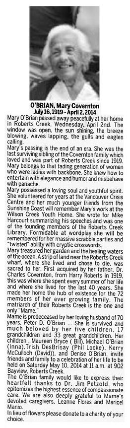 Mory Covernton O'Brian - death notice - Vancouver Sun - April 12 2014 - page H11 - column 2