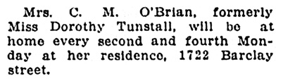 Mrs C M O'Brian - at home - Vancouver Sun - May 12 1913 - page 8 - column 5