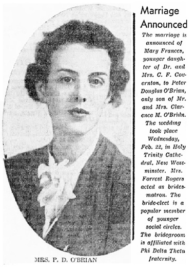 Peter Douglas O'Brian and Mary Frances Covernton - marriage - Vancouver Sun - February 25 1939 - page 13 - columns 3-4