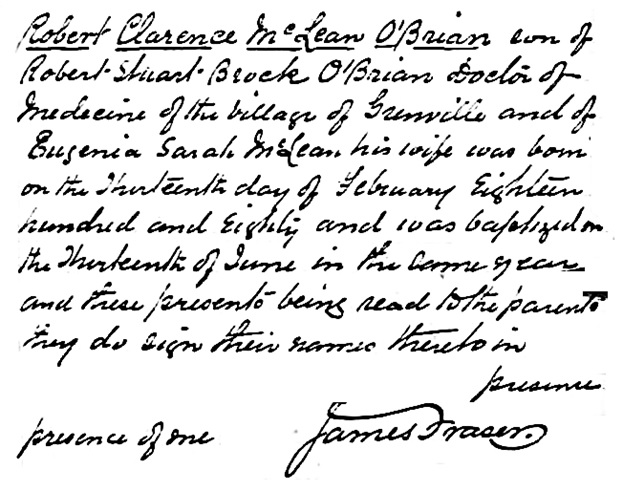 Robert Clarence McLean O'Brian - baptism date - 1880